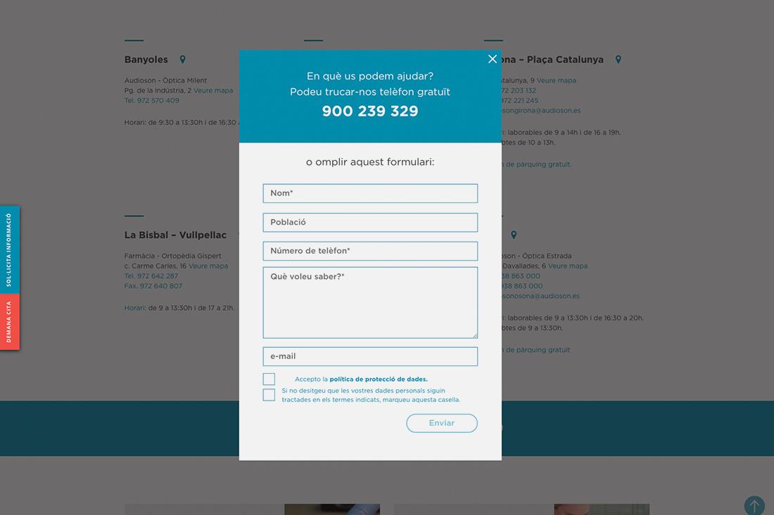 Web Audioson formulari contacte
