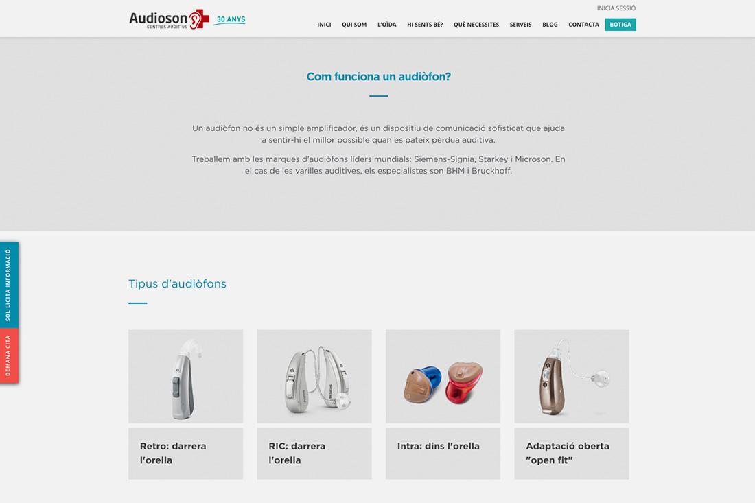 Web Audioson tipus d'audiofons